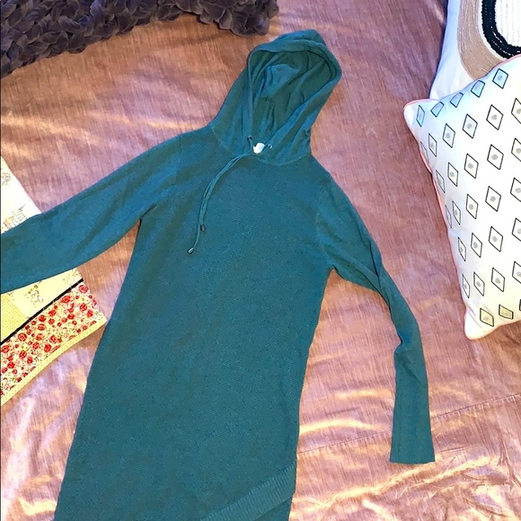 Hooded teal sweater dress